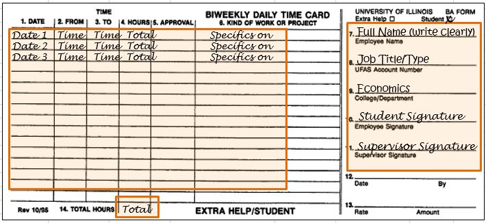 time sheet paper entry economics at illinois